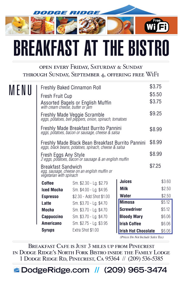 Bistro Breakfast Menu - Dodge Ridge