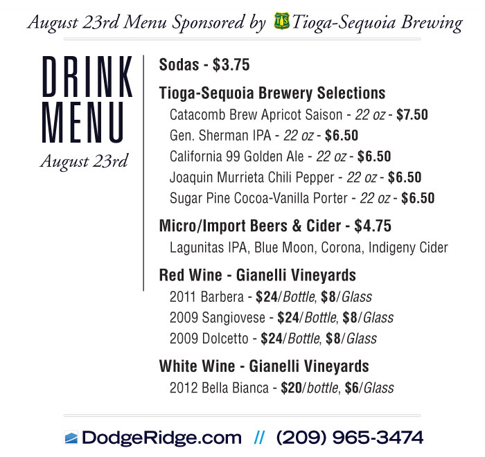 August 23 - Dodge Ridge Dinner Celebration Drink Menu