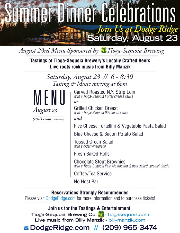 Dodge Ridge Summer Dinner Celebration - August 23 Menu
