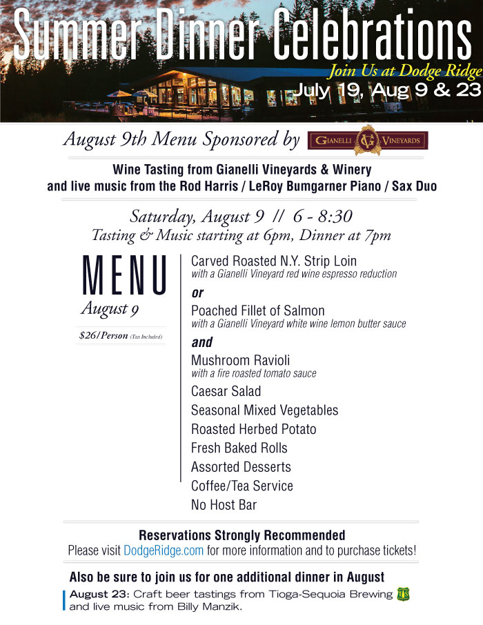 Summer Dinner Celebration at Dodge Ridge - August 9 Menu