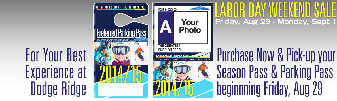 2014/15 Season Pass and Parking Pass Pick-Ups Begin, Fri, Aug 29