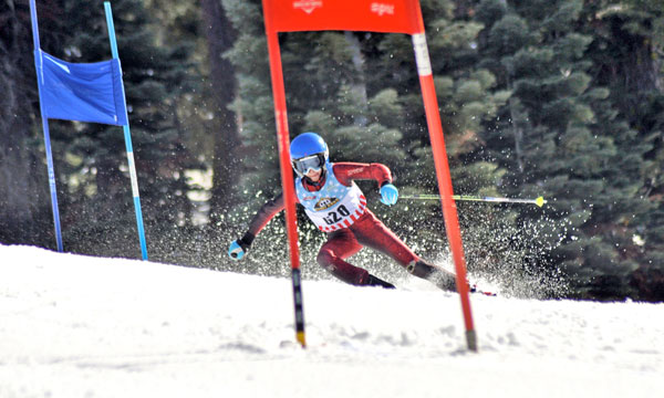 ski racer on GS course