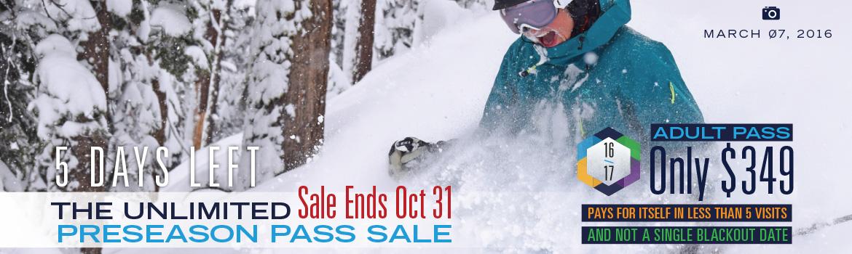 The Unlimited Dodge Ridge Preseason Pass Sale - Ends Oct 31