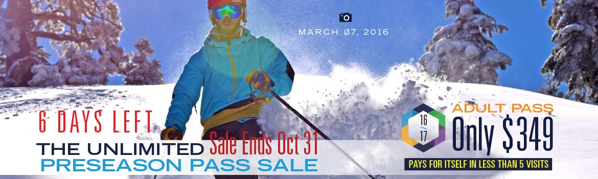 Enjoy every unlimited day of the Dodge Ridge 2016/17 season with no blackouts at the lowest price possible. Preseason Pass Sale Ends October 31st, 2016