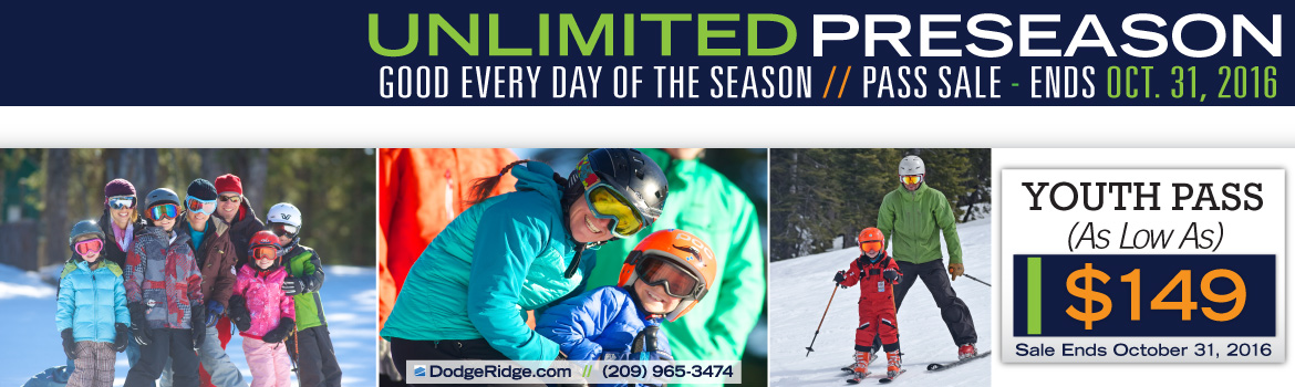 Youth Passes are $149 until October 31, 2016