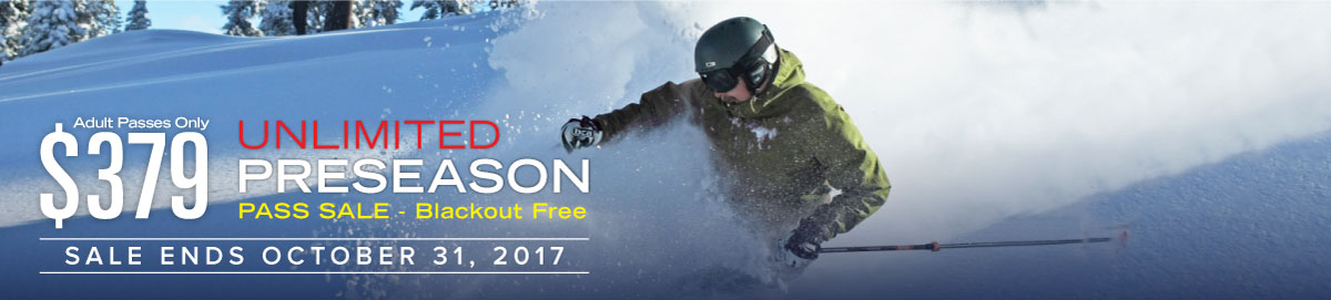 Dodge RIdge Preseason Pass Sale - Unlimited, Season Passes at the lowest price available thru October 31, 2017