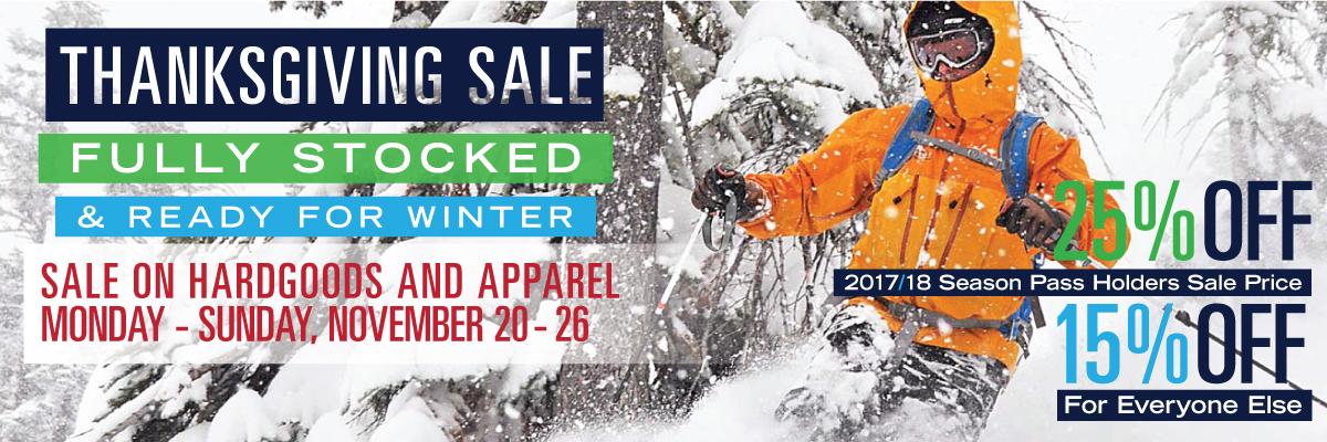 Dodge Ridge Ski Area - Thanksgiving Sport Shop Sale - November 20 - 26, 2017