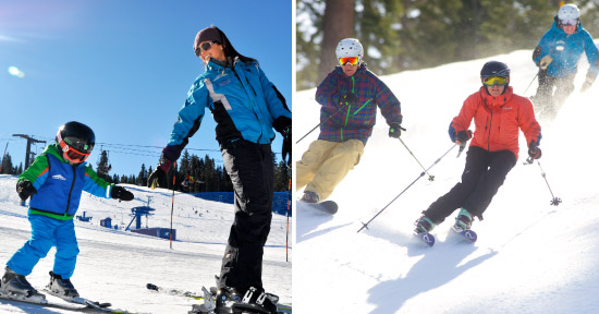 Photos of beginner and expert ski lessons. A link to the Snowsports Instructor Online Application.