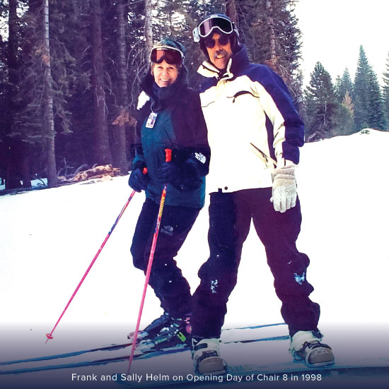 Photo of Frank and Sally Helm at the opening of Chair 8 in 1998