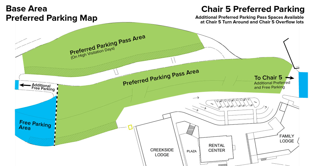 Dodge Ridge Base Area - Season-Long and Daily Paid Preferred Parking Map